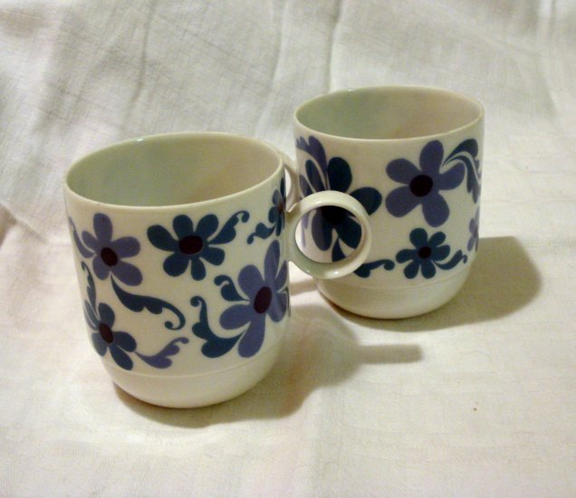 2 Rosenthal Studio Line stacking cups blue flower power vintage china hc2207