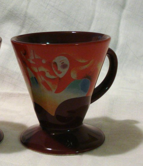 2 Espresso cone shaped cups mugs signed dated theatre music motif hc2210