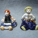 Ukraine or Russian boy and girl sitting figurines hand decorated ceramic pottery hc2260
