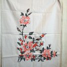 Unused tablecloth pink floral on white cotton vintage hc2276