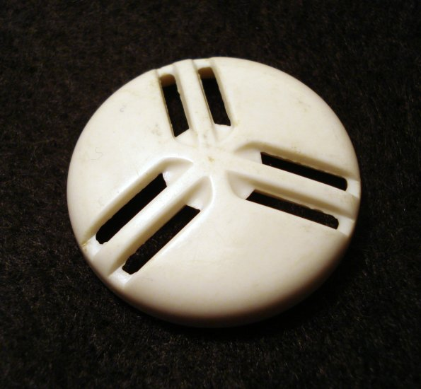4 Art Deco plastic buttons white self shank large size great hc2296