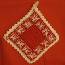 Red and white hand crochet potholder spidery look vintage hc2324
