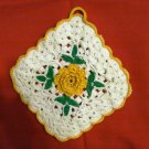 Granny square yellow rose center potholder hand crochet unused vintage hc2325