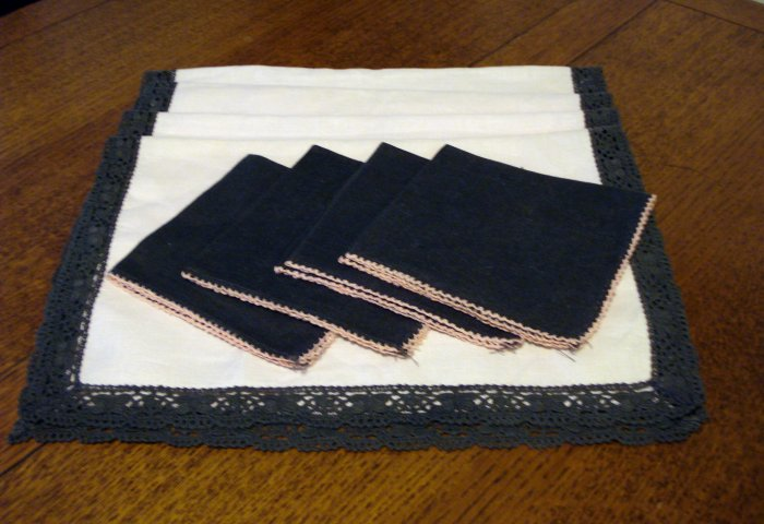 Linen and lace place mats napkins 4 each pink gray vintage hc2333