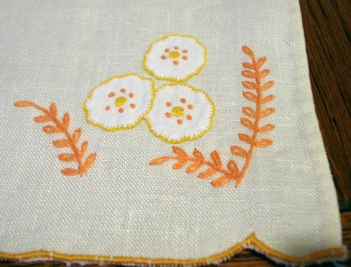 Antique linen guest towel orange hand embroidery applique button hole stitched hem  hc2336