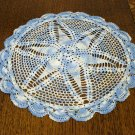 Pair hand crocheted lacy varigated blue doilies pineapple motif perfect doily hc2337