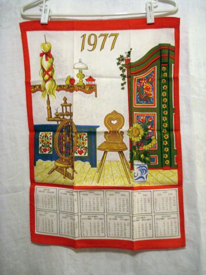 1977 Trilingual calendar tea towel Tyrol motifs unused vintage hc2343