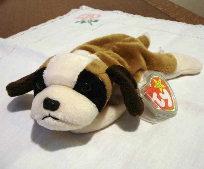 Bernie the Saint Bernard puppy dog Ty Beanie Baby toy retired mint  hc2352