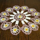 Antique hand crochet doily Art Deco pink white marigold  hc2354
