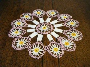 Antique hand crochet doily Art Deco pink white marigold  hc2354