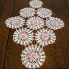Antique hand crochet doily small flower centered circles oblong  hc2355
