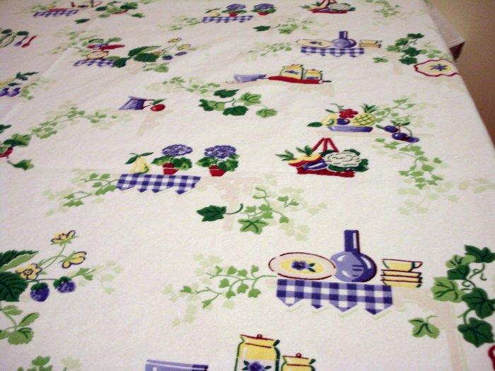 1950s Printed cotton sailcloth tablecloth kitchen motif excellent vintage hc2360