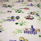 1950s Printed cotton sailcloth tablecloth kitchen motif excellent vintage hc2360
