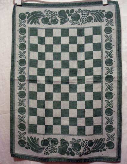 Jacquard tea kitchen towel checkerboard fruit motif green vintage hc2369