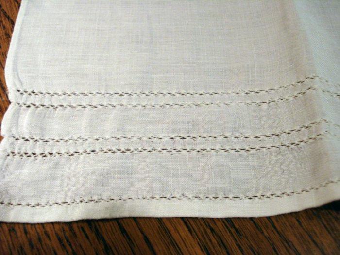 Threadwork edged linen guest hand towel white vintage hc2375