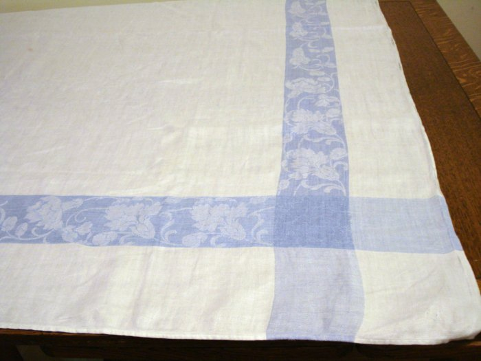 Antique linen tablecloth jacquard weave classic blue frame hc2376
