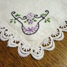 Linen table mat or napkin embroidered lace edge vintage hc2382