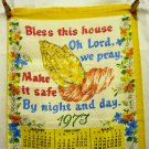 1973 Bless this house prayer praying hands calendar tea towel linen vintage hc2400