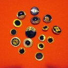 Buttons odd lot 16 gold tone metal and black plastic with shanks for crafts jewelry vintage hc2411