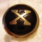 7 Buttons silver Xs on black with shanks vintage hc2418