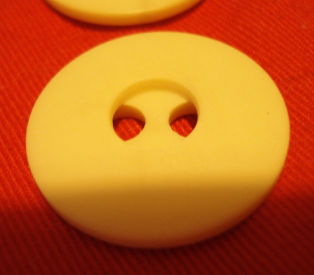 2 vintage plastic buttons white 2 hole unusual 1 inch size hc2431