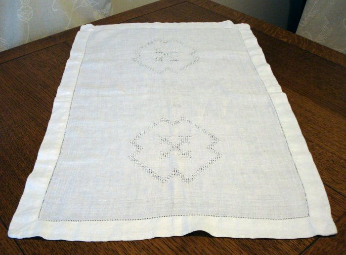 Antique jacquard linen hand towel white threadwork details hem  hc2439