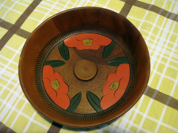 Japanese wooden nut bowl painted floral motif hand carved details hc2440