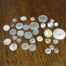 32 Mixed white plastic buttons faux MOP sewing crafts hc2445