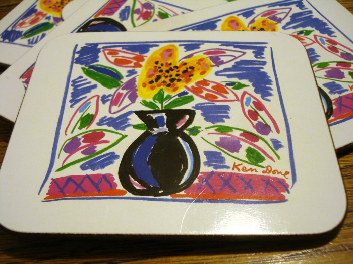 Ken Done Black Vase 6 drink coasters cork backed boxed hc2449