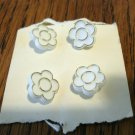4 Plastic buttons white flowers shank backs on card sewing crafts hc2452