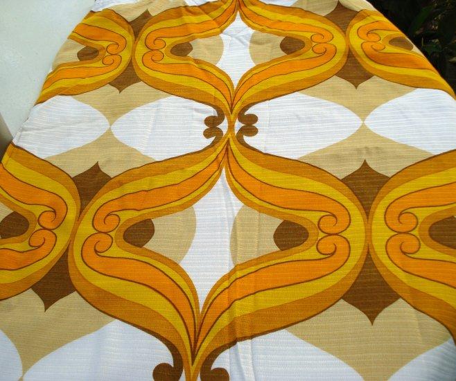 Retro fabric curtain Panton style orange brown colors wide excellent 1960s-70s vintage hc2482