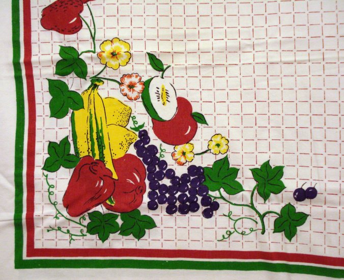 Art Deco fruits on windowpane check cotton tablecloth 64 inches vintage hc2490