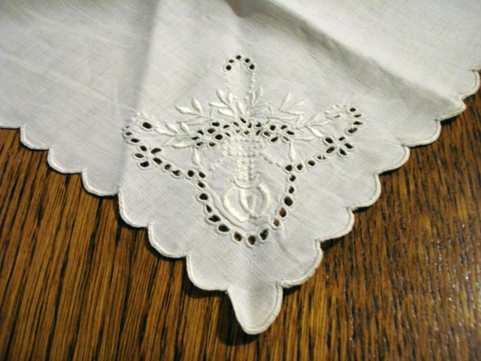 3 Antique odd linen napkins monogram W scalloped edges whitework eyelets embroidery butterfly hc2500