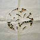 Antique linen table mat tray liner openwork embroidery crochet edge ecru hc2501