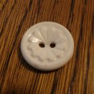 12 White plastic dress buttons 2 hole flower centers vintage for sewing crafts hc2530