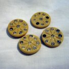 4 Plastic and rhinestone buttons beige vintage for sewing crafts jewelry hc2532