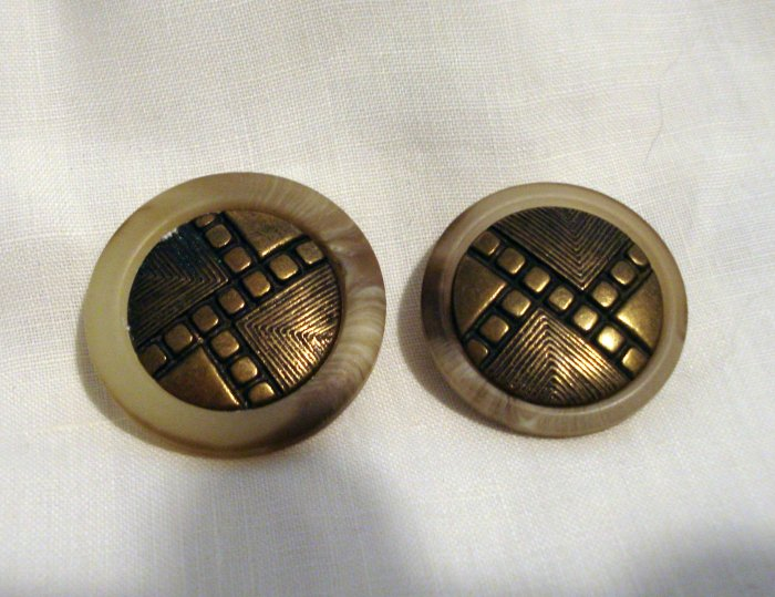 2 Bone and brass Art Deco buttons shank backs vintage for sewing crafts jewelry hc2533