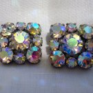 2 Aurora Borealis prong set buttons shank backs vintage for sewing crafts jewelry hc2538
