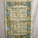 Glossary of embroidery stitches tea towel cotton linen very good vingage hc2541