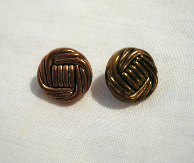 6 metal look shank buttons ship 39 s knots copper tone for Buttons with shanks for jewelry