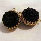 2 Sequin and tiny bead beads black in gold frames vintage for crafts jewelry hc2557