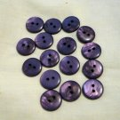 16 plastic sew through buttons deep lilac preowned for sewing crafts  hc2563