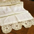 Linen and lace table runner or dresser scarf threadwork ecru crocheted lace ends antique hc2592