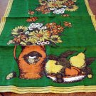 Autumn linen tea towel still life with gerberas pitcher unused vintage hc2598
