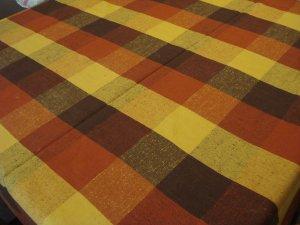 Retro checked tablecloth cotton unused vintage hc2603
