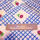 4 Irish linen dinner napkins window pane check with flowers unused hc2648