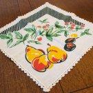 2 Vintage cotton napkins fruit motif crocheted edge immaculate hc2662