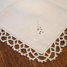 2 Vintage cotton napkins whitework embroidery tatted lace edge hc2663