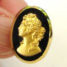 5 Button covers gold tone cameo on black plastic dramatic vintage hc2782