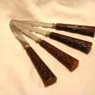 C s C Crown Sheffield  4 steak knives stainless Bakelite faux stag or wood handles vintage hc2881